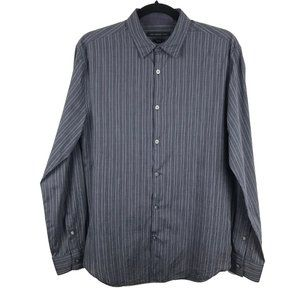 John Varvatos Star USA Luxe Striped Button Shirt S